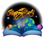 Sciene book with spaceship and solar system Royalty Free Stock Photos