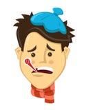 Scienest projekta kreskówki płascy mężczyzna dostać chorymi z termometr płaską wektorową ilustracją coldcharacter ilustracja Zdjęcie Royalty Free