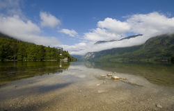 Scienic view of crystal clear lake Bohinj Royalty Free Stock Image