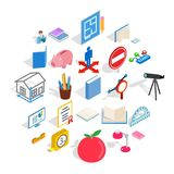 Sciential icons set, isometric style. Sciential icons set. Isometric set of 25 sciential vector icons for web isolated on white background Stock Photo