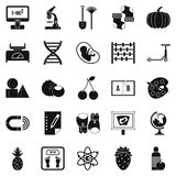 Scientific approach icons set, simple style. Scientific approach icons set. Simple set of 25 scientific approach icons for web isolated on white background Royalty Free Stock Photos