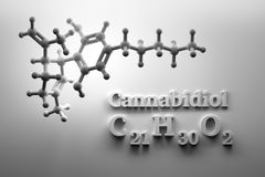 CBD structure on white background. Scientific background with CBD cannabidiol chemical molecule structure on white background. 3d illustration royalty free illustration