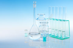 Scientific background with laboratory glassware, text space Stock Photos