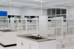 Scientific background: modern laboratory interior out of focus, Stock Image