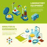 Scientific banners. Medical or chemical experiment laboratory room and equipment vector isometric pictures. Illustration of research laboratory, structure royalty free illustration