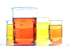 Scientific Beakers in Science Research Lab Royalty Free Stock Images