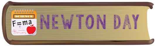 Scientific book Newton Day. A scientific book with the text of Newton`s Day stock illustration