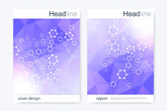 Scientific brochure design template. Vector flyer layout. Hexagonal molecule structure Stock Images