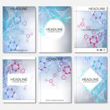 Scientific brochure design template. Vector flyer layout, Molecular structure with connected lines and dots. Scientific Stock Photo
