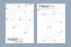 Scientific brochure design template. Vector flyer layout, Molecular structure with connected lines and dots. Scientific. Pattern atom DNA with elements for royalty free illustration