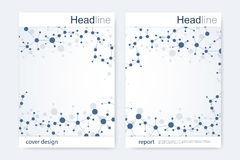 Scientific brochure design template. Vector flyer layout, Molecular structure with connected lines and dots. Scientific Royalty Free Stock Photography