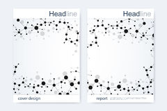 Scientific brochure design template. Vector flyer layout, Molecular structure with connected lines and dots. Scientific Stock Images