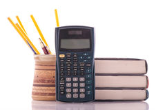 Scientific Calculator. With Textbooks and Pencils in Cup Royalty Free Stock Photos