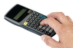 Scientific calculator. On white and a hand Royalty Free Stock Photography