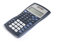 Scientific calculator. Angled shot of scientific calculator isolated on white Stock Images