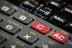 Scientific calculator clear and reset buttons Stock Photography