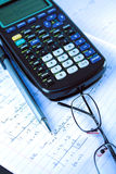 Scientific Calculator with exercise books Royalty Free Stock Photos