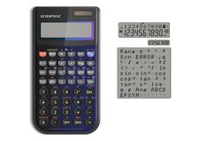 Scientific calculator with solar cell stock images