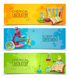 Scientific Chemical Laboratory Flat Banners Set Royalty Free Stock Photo