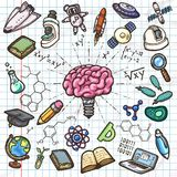 Scientific set of hand drawn vector icons. Stock Photo