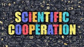 Scientific Cooperation Concept. Multicolor on Dark Brickwall. Scientific Cooperation Concept. Modern Illustration. Multicolor Scientific Cooperation Drawn on Stock Photo