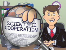Scientific Cooperation through Magnifier. Doodle Concept. Scientific Cooperation through Lens. Officeman Shows Paper with Concept. Closeup View. Multicolor Stock Photos