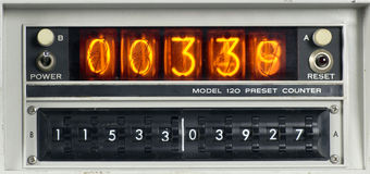 Scientific counting machine. A scientific nixie counting machine Stock Photos