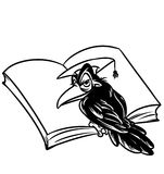 Scientific crows reading a book illustration Stock Photography
