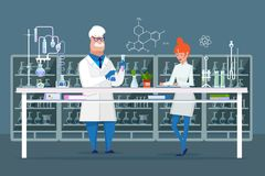 Scientific employees of chemical laboratory. Interior of rooms, equipment, flasks. royalty free illustration