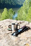 Scientific expedition. Along the river on the rocks stock photography
