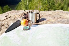Scientific expedition. Along the river on the rocks royalty free stock photo