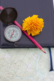Scientific expedition. On the map. compass. pencil royalty free stock images