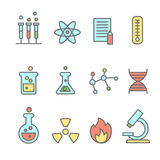 Scientific experiments, chemistry and bio technology line icons Stock Photos