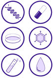 Scientific and health test icon set Royalty Free Stock Photography