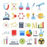 Scientific icon set. Science lab with different equipment. Vector pictures in flat style. Science and research education, equipment microscope illustration Royalty Free Stock Photos