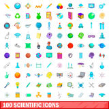 100 scientific icons set, cartoon style. 100 scientific icons set in cartoon style for any design vector illustration Stock Image
