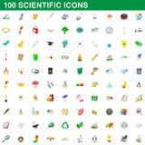 100 scientific icons set, cartoon style. 100 scientific icons set in cartoon style for any design vector illustration Royalty Free Stock Image