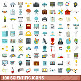 100 scientific icons set, flat style. 100 scientific icons set in flat style for any design vector illustration Royalty Free Stock Photos