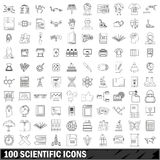 100 scientific icons set, outline style. 100 scientific icons set in outline style for any design vector illustration Royalty Free Stock Image