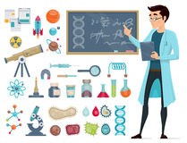 Scientific Icons Set. With scientist and biological astronomic chemical elements isolated vector illustration Stock Photography