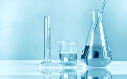 Scientific laboratory experimental glassware, Symbolic of science. Research and development stock photography
