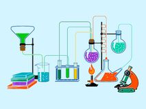 Scientific laboratory flat background Royalty Free Stock Photos