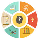Scientific laboratory flat infographics scheme Royalty Free Stock Photos