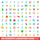 100 scientific laboratory icons set, cartoon style. 100 scientific laboratory icons set in cartoon style for any design vector illustration Royalty Free Stock Photos