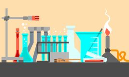 Scientific and laboratory materials and tools in Still Life composition. Flat design concept. Vector illustration. Stock Image