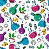 Scientific laboratory research seamless pattern Royalty Free Stock Image