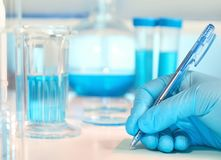 Scientific, medical or education background. Biological or biochemical lab out of focus royalty free stock photography