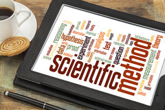 Scientific method word cloud. On a digital tablet with a cup of coffee Royalty Free Stock Photos