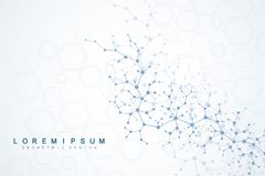 Scientific molecule background for medicine, science, technology, chemistry. Wallpaper or banner with a DNA molecules. Vector geometric dynamic illustration royalty free illustration