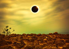 Scientific natural phenomenon. Total solar eclipse with diamond Royalty Free Stock Photography